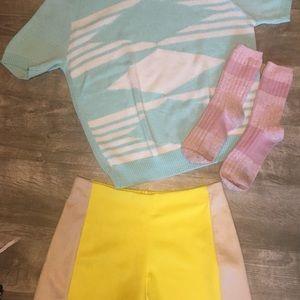 Vintage aqua short sleeve sweater